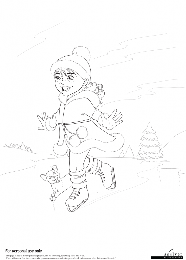 Pige på skøjter | Malebog side