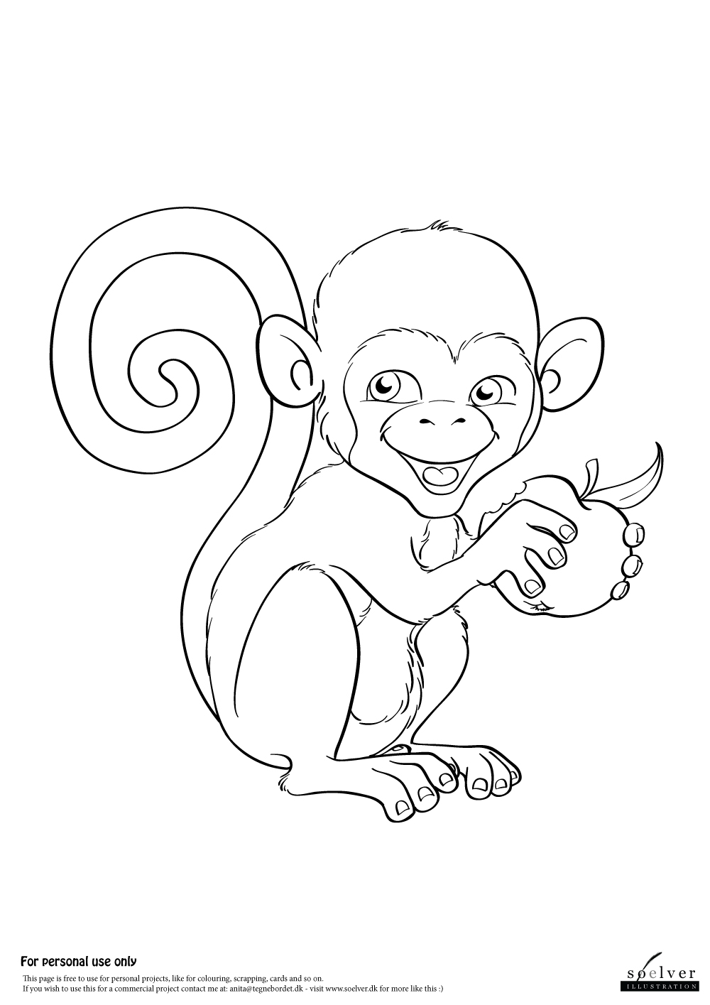 monkey with apple coloring page soelver dk